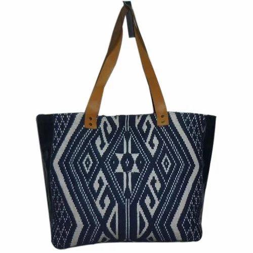 Cotton Fabric Blue/ Naturel Ladies Jacquard With Leather Shopper Bag