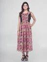 Pink Muslin Sleeveless Printed Flared Kurti, Size: Xl & Xxl