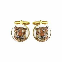 Hand Painted Tiger Cufflinks In 925 Sterling Silver