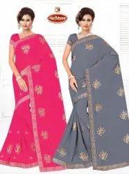 Dyed Chiffon Embroidery Work Saree - Huma