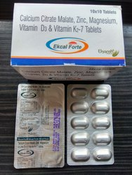 Calcium Citrate Malate, Vitamin D3, VIT K2-7, ZINC, Magnesium Tablet, Packaging Size: 10x10, Packaging Type: 10x10