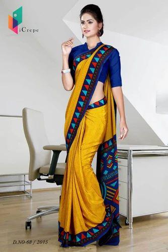 2db45af41df053 ICrepe Premium Plain Crepe Uniform Saree For School Teacher, Rs 650 ...