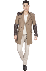 Cotton Blend DheerajSharma Beige Leather Trench Coat