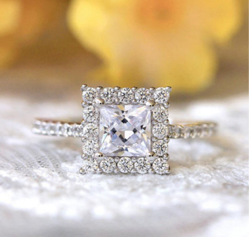 e317076572d53 1.50ct Princess Cut Diamond Beautiful Halo Engagement Ring 925 Sterling  Silver