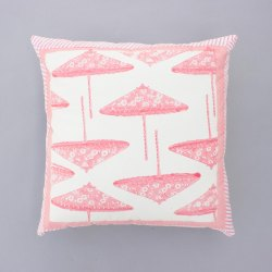 Umbrella Pink Block Print 16X16 Cushion Cover
