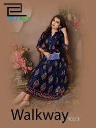 Vee Fab Walkway Vol-1 Rayon Kurti Catalog Collection at Textile Mall Surat Export