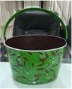 Hand Painted Oval Tub Green With Holly Leaves With Dual Powder Coated Finish