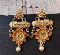 Traditional Gold Plated Bridal Earring Set