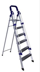Parasnath Railing Home Pro 6 Step Light Weight Full Aluminium Heavy Duty Folding Ladder