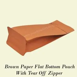 Flat Bottom Pouch with Tear off Zipper (Brown Paper)