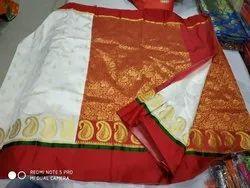 White Red Festive Wear Gorat Silk Patli Pallu Saree