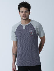 Masculino Latino Cotton Henly Neck Printed T Shirt, Size : Small, Medium, Large, XL