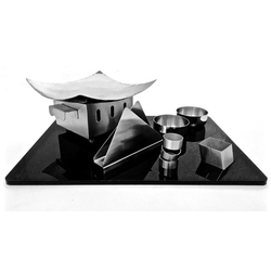 Silver Black Theme Square Snacks Set