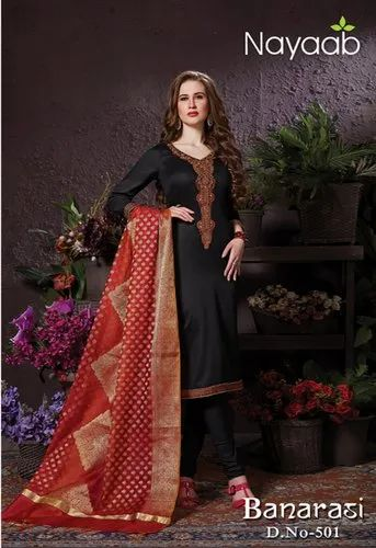 877c73c681a162 Red Black Party Wear Nayaab Banarasi Designer Salwar Suit, Size: Free
