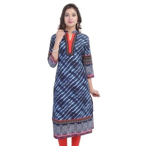 XL Stitched Cotton Printed Ladies Kurti, Age Group: Adults