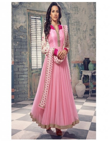 32666b76a52 Printed Party wear Dazzling Light Pink Georgette Net Anarkali Salwar Kameez
