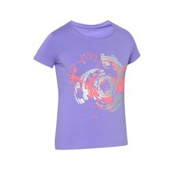 Round Purple Ladies Half Sleeves T Shirt