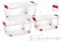 Rectangle Transparent Plastic Box with wheel