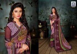 Rachna Georgette Saffron Catalog Saree Set For Woman 4