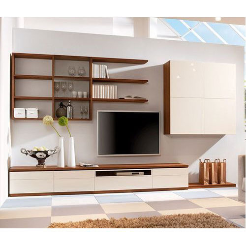 White And Brown Modern Wooden Tv Unit Rs 950 Square Feet Bhargav
