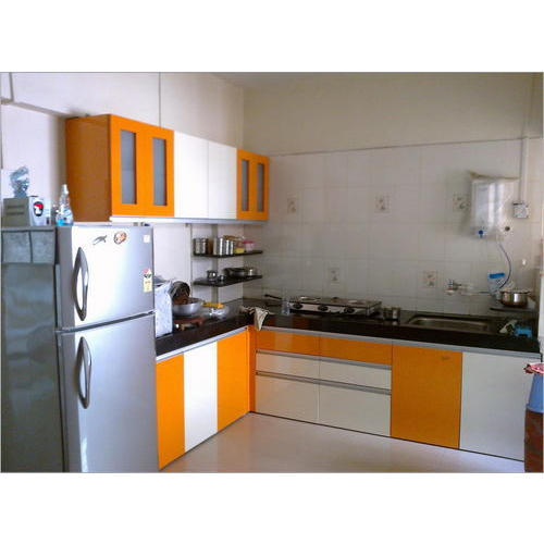 Modern Italian Modular Kitchens Rs 1100 Square Feet: Orange And White Kitchen Cabinet, Modern Kitchen Cabinets