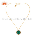 Smoky Quartz Green Onyx Gemstone Gold Plated Silver Chain Pendants