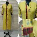 Casual Wear Angrakha Ladies Fancy Cotton Kurti, Machine Wash