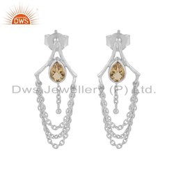 Citrine Gemstone Designer Sterling Silver Chandelier Earring