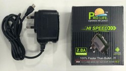 Black Pro Life Mobile Fast Charger Wired 2.0 Amp