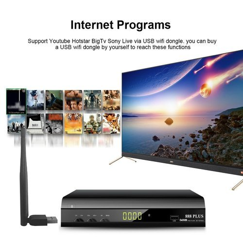 Wezone Digital Satellite Receiver 888 Plus Free To Air Dvb-S2 Set Top Box  Mpeg-4 Full Hd With Wi-Fi
