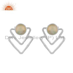 Triangle Design Sterling Silver Ethiopian Opal Earrings