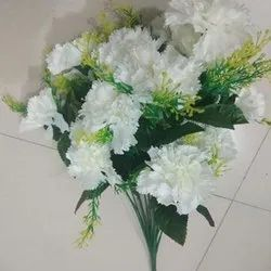 Polyester White, Green Artificial White Flower Bouquet