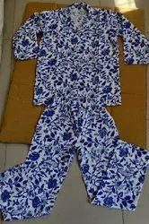 Unisex Pink Hand Block Print Kids Night Suit