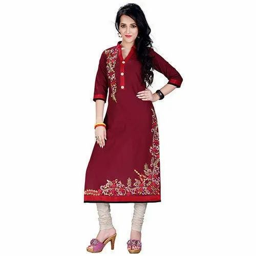 Dhani Creation Casual Wear Ladies Fancy Embroidered Cotton Kurtis, Size: M-XXL, Hand Wash
