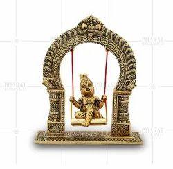 Gold Plated Laddu Gopal With Jhoola