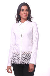 Ladies Cotton White Solid Shirt