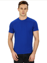 Pintapple Solid Mens Round Neck Blue T-Shirt