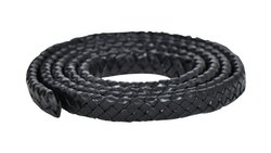 Black Oval Flat Braided Bracelet Leather Cord