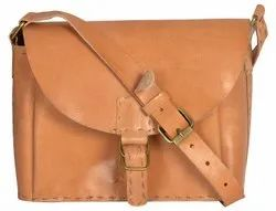 Brown Leather Hand Stitching Bag, For Shopping, Gender: Women