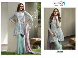 M3 Fashion Amreen Bashir Series 0050A-0050D Stylish Party Wear Net Suit
