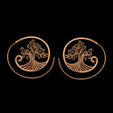 Brass Mandala Hoop Earrings for Women and Girls