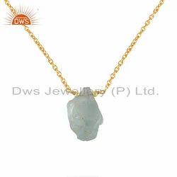 Designer Gold Plated 925 Silver Aquamarine Gemstone Pendant