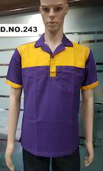 Violet Colour Restaurant Uniform With Yellow Patches