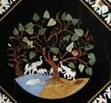 Black Color Decorative Inlay Dining Table Top