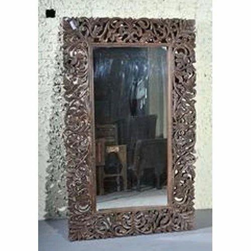 Wooden Chocolate Antique Mirror Frame, Antique Wooden Frame Mirror