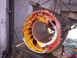 Rewinding service of induction motors, in On Site