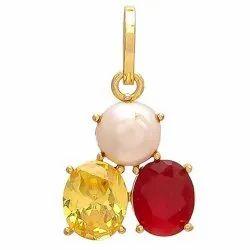 Three Stone Pearl,, Yellow Sapphire, Neelam, Manik, Panna, Coral, Brass Pendant