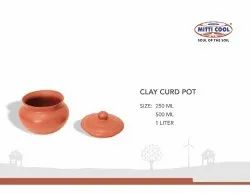 Round New Earthen Clay Curd Pot with Cap (250 ml.)