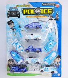 Plastic White, Blue Kids Police Car Set, No. Of Wheel: 4, Packaging Type: Packets
