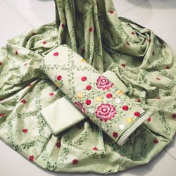 Latest Heavy Cotton Embroidered Dress Material, Size: Free